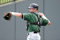 Catcher Ty Ross (26) of the Augusta GreenJackets warms up before a game against the Greenville Drive on Sunday, July 13, 2014, at Fluor Field at the West End in Greenville, South Carolina. Greenville won, 8-5. (Tom Priddy/Four Seam Images)