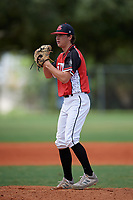 Trendan Parish (26) during the WWBA World Championship at Lee County Player Development Complex on October 10, 2020 in Fort Myers, Florida.  Trendan Parish, a resident of Poolville, Texas who attends Poolville High School, is committed to Texas Tech.  (Mike Janes/Four Seam Images)