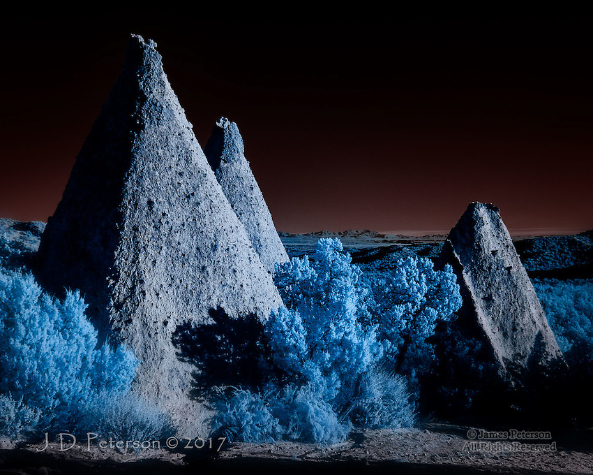 Obelisks, Kasha-Katuwe Tent Rocks National Monument (Infrared) ©2017 James D Peterson.  To challenge our complacency about the planet that sustains us, Mother Earth occasionally shares her visions from other worlds.  This one is near the Cochiti Pueblo in New Mexico.<br />