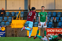 Jake Hegarty of Cobh Ramblers celebrates after scoring the first goal for his side.<br /> <br /> Cobh Ramblers v Cork City, SSE Airtricity League Division 1, 28/5/21, St. Colman's Park, Cobh.<br /> <br /> Copyright Steve Alfred 2021.