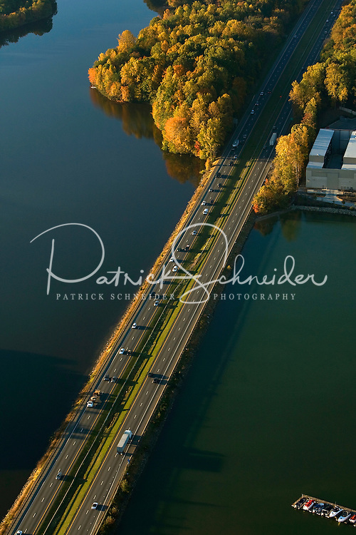 Views on Lake Norman, located north of Charlotte, NC. Photo is of I-77 passing over lake.