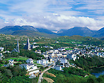 County Galway, Ireland:  Village of Clifden from Founders Hill - with the mountains of Twelve Bens in the distance