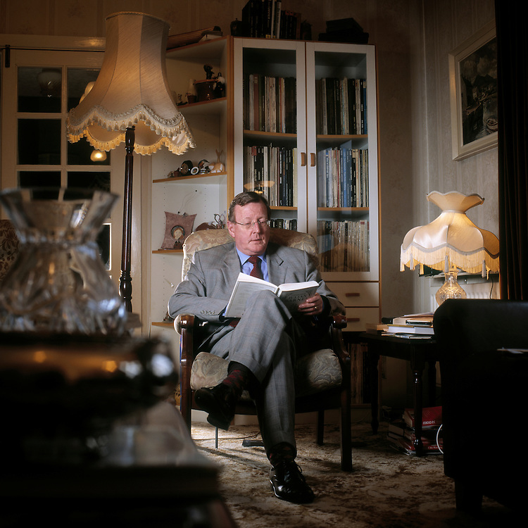 Former MP Ulster Unionist Party for Upper Bann and Party leader David Trimble at his home in Lisbon, Northern Ireland.