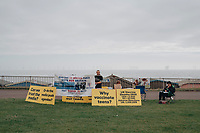 8th October 2021; AJ Bell Womens Cycling Tour, Stage 5, Colchester to Clacton on Sea.  Anti vaccine demonstration in Clacton.