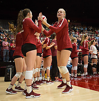 STANFORD, CA - NOVEMBER 17: Stanford, CA - November 17, 2019: Kathryn Plummer, Caitie Baird at Maples Pavilion. #4 Stanford Cardinal defeated UCLA in straight sets in a match honoring neurodiversity. during a game between UCLA and Stanford Volleyball W at Maples Pavilion on November 17, 2019 in Stanford, California.
