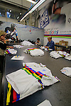 UCI World Champion jersey in production Santini Factory, Lallio, Italy. 30th September 2015.<br /> Picture: Eoin Clarke | Newsfile