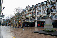 Pictured: The almost deserted, The Hayes in Cardiff, Wales, UK. Friday 8th January 2021<br /> Re: The whole of Wales in in Tier 4 due to rising Covid-19 Coronavirus cases, Cardiff, Wales, UK.