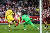 A shot from Brentford's Pontus Jansson crashes against the Liverpool crossbar during Brentford vs Liverpool, Premier League Football at the Brentford Community Stadium on 25th September 2021