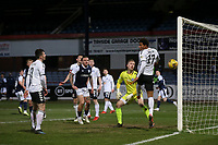 16th March 2021; Dens Park, Dundee, Scotland; Scottish Championship Football, Dundee FC versus Ayr United; A header from Danny Mullen of Dundee hits the post but bounces away