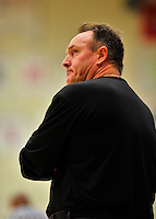 29 January 2012: University of New Hampshire Wildcats' Head Coach Bill Herrion glances at the scoreboard during a game against the University of Vermont Catamounts at Patrick Gymnasium in Burlington, Vermont. The Catamounts defeated the Wildcats 77-60 in America East play. Mandatory Credit: Ed Wolfstein Photo