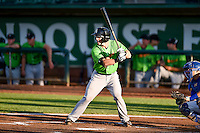 Casey Schroeder (4) of the Great Falls Voyagers at bat against the Ogden Raptors in Pioneer League action at Lindquist Field on August 16, 2016 in Ogden, Utah. Ogden defeated Great Falls 2-1. (Stephen Smith/Four Seam Images)