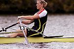 Rowing, Woman rowing single racing shell, Head of the Charles Regatta, Cambridge, Massachusetts, Charles River, New England, USA, Amy Howat,