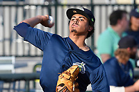 Starting pitcher Harol Gonzalez (45) of the Columbia Fireflies warms up before a game against  the Charleston RiverDogs on Friday, June 9, 2017, at Spirit Communications Park in Columbia, South Carolina. Columbia won, 3-1. (Tom Priddy/Four Seam Images)