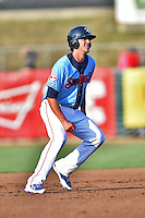Tennessee Smokies third baseman Kris Bryant #17 leads off second base during a game against the Birmingham Barons at Smokies Park on May 31, 2014 in Kodak, Tennessee. The Barons defeated the Smokies 2-1. (Tony Farlow/Four Seam Images)