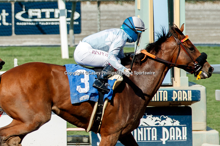 ARCADIA, CA  SEP 25: #3 Into Chocolate, ridden by Umberto Rispoli, wins the Chillingworth Stakes (Grade lll) on September 25, 2020 at Santa Anita Park in Arcadia, CA.  (Photo by Casey Phillips/Eclipse Sportswire/CSM.