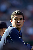 September 28, 2008: Seattle Mariners' Felix Hernandez takes a gander into the crowd during a game against the Oakland Athletics at Safeco Field in Seattle, Washington.