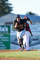West Virginia Black Bears first baseman Albert Baur (25) running the bases during a game against the Batavia Muckdogs on June 29, 2016 at Dwyer Stadium in Batavia, New York.  West Virginia defeated Batavia 9-4.  (Mike Janes/Four Seam Images)
