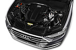 Car stock 2018 Audi A8 Base 4 Door Sedan engine high angle detail view