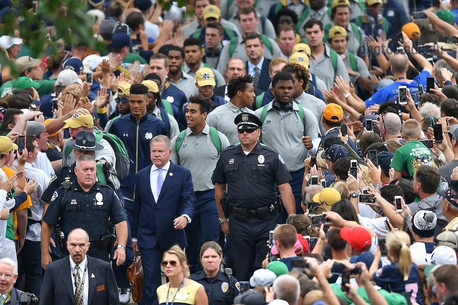 September 10, 2016; Player walk prior to the game. (Photo by Matt Cashore)