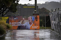 A shower soaks the ground as the Black Caps train for the International Test Cricket match between the New Zealand Black Caps and West Indies at the Basin Reserve in Wellington, New Zealand on Thursday, 10 December 2020. Photo: Dave Lintott / lintottphoto.co.nz