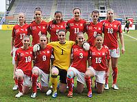 UEFA Women's Under 17 Championship - Second Qualifying round - group 1 : Switzerland - Belgium  : ..1 Nicole Studer (GK) ; 3 Lena Bruderer ; 4 Francesca Calo ; 5 Alessa Castignetti (C) ; 8 Florijana Ismaili , 9 Noelle Maritz ; 11 Sabrina Ribeaud ; 15 Meriame Terchoun ; 17 Pauline Vienne ; 18 Audrey Wuichet , 19 Carmen Pulver..foto DAVID CATRY / Vrouwenteam.be