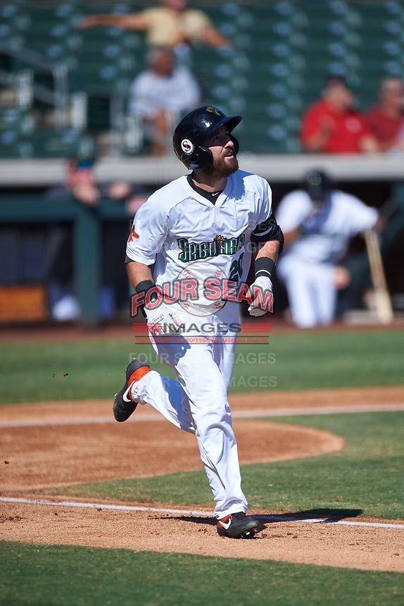 Surprise Saguaros Mason McCoy (20), of the Baltimore Orioles organization, jogs to first base during the Arizona Fall League Championship Game against the Salt River Rafters on October 26, 2019 at Salt River Fields at Talking Stick in Scottsdale, Arizona. The Rafters defeated the Saguaros 5-1. (Zachary Lucy/Four Seam Images)