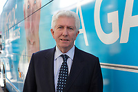 File Photo  -  Bloc Quebecois leader Gilles Duceppe and his tour bus during the 2015 electoral campaign.<br /> <br /> PHOTO : Agence Quebec Presse