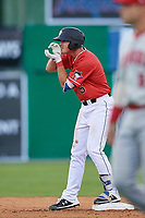 Batavia Muckdogs Nic Ready (5) motions towards his teams bench after hitting a double - his first professional hit - during a NY-Penn League game against the Auburn Doubledays on June 14, 2019 at Dwyer Stadium in Batavia, New York.  Batavia defeated 2-0.  (Mike Janes/Four Seam Images)