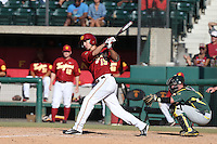 Corey Dempster (15) of the Southern California Trojans bats during a game against the Oregon Ducks at Dedeaux Field on April 18, 2015 in Los Angeles, California. Oregon defeated Southern California, 15-4. (Larry Goren/Four Seam Images)