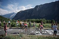 Adam Hansen (AUS/Lotto-Soudal) & Florian Senechal (FRA/Cofidis) on top of the Lacets de Montvernier (2C/782m/3.4km, 8.2%)<br /> <br /> stage 18: Gap - St-Jean-de-Maurienne (187km)<br /> 2015 Tour de France