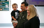 Lt. Daniel Gonzales and his wife Meliah greet supporters before a promotion ceremony at Carson City Sheriff's Office, in Carson City, Nev., on Thursday, July 2, 2020. <br /> Photo by Cathleen Allison