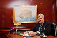 Mikael Krafft, founder and president of Star Clippers, poses for the photographer in his office at Clipper Palace, Monaco, 19th April 2012