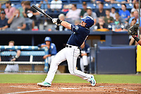 Asheville Tourists right fielder Vince Fernandez (8) swings at a pitch during a game against the Rome Braves at McCormick Field on July 27, 2017 in Asheville, North Carolina. The Braves defeated the Tourists 6-3. (Tony Farlow/Four Seam Images)