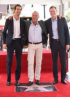 Michael Keaton + son Sean Douglas + John Lee Hancock @ this Walk of Fame ceremony held @ 6931 Hollywood blvd. July 28, 2016