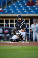 Quad Cities River Bandits catcher Jake Rogers (4) during a game against the Lake County Captains on May 6, 2017 at Modern Woodmen Park in Davenport, Iowa.  Lake County defeated Quad Cities 13-3.  (Mike Janes/Four Seam Images)
