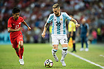 Alejandro Gomez of Argentina (R) in action against Nazrul Nazari of Singapore (L)  during the International Test match between Argentina and Singapore at National Stadium on June 13, 2017 in Singapore. Photo by Marcio Rodrigo Machado / Power Sport Images