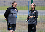 St Johnstone players back for the first day of training at McDiarmid Park in preparation for the 2019-2020 season…25.06.19<br />Pictured manager Tommy Wright talking with assistant Alex Cleland<br />Picture by Graeme Hart.<br />Copyright Perthshire Picture Agency<br />Tel: 01738 623350  Mobile: 07990 594431