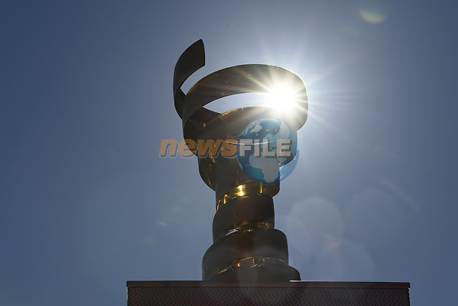 The Trofeo Senza Fine on display at sign on before the start of Stage 6 of the 103rd edition of the Giro d'Italia 2020 running 188km from Castrovillari to Matera, Sicily, Italy. 7th October 2020.  <br /> Picture: LaPresse/Fabio Ferrari | Cyclefile<br /> <br /> All photos usage must carry mandatory copyright credit (© Cyclefile | LaPresse/Fabio Ferrari)