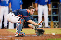 Virginia Cavaliers catcher Nate Irving #18 waits for a throw at home plate against the Duke Blue Devils at Durham Bulls Athletic Park on April 20, 2012 in Durham, North Carolina.  (Brian Westerholt/Four Seam Images)