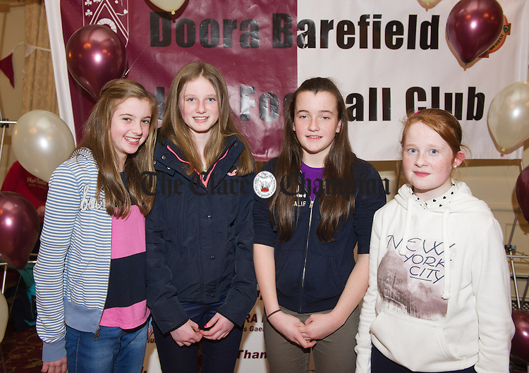 Aisling Reidy, Niamh O Keeffe, Amy Lenihan and Chloe Towey at the Doora Barefield underage  ladies Football awards night in the Old Ground Hotel. Photograph  by John Kelly.