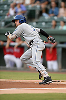 Third baseman Kyle Datres (3) of the Asheville Tourists runs out a batted ball in a game against the Greenville Drive on Friday, August 23, 2019, at Fluor Field at the West End in Greenville, South Carolina. Greenville won, 11-1. (Tom Priddy/Four Seam Images)