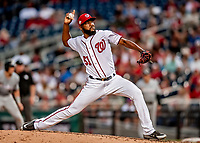 26 September 2018: Washington Nationals pitcher Wander Suero on the mound in the 6th inning against the Miami Marlins at Nationals Park in Washington, DC. The Nationals defeated the visiting Marlins 9-3, closing out Washington's 2018 home season. Mandatory Credit: Ed Wolfstein Photo *** RAW (NEF) Image File Available ***