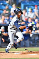 Columbia Fireflies Mark Vientos (13) starts down the first base line against the Asheville Tourists at McCormick Field on June 22, 2019 in Asheville, North Carolina. The Tourists defeated the Fireflies 6-5. (Tony Farlow/Four Seam Images)