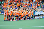 The Hague, Netherlands, June 14: Players of The Netherlands and Australia line up prior to the field hockey gold medal match (Women) between Australia and The Netherlands on June 14, 2014 during the World Cup 2014 at Kyocera Stadium in The Hague, Netherlands. Final score 2-0 (2-0)  (Photo by Dirk Markgraf / www.265-images.com) *** Local caption ***