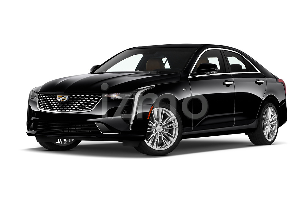 Stock pictures of low aggressive front three quarter view of 2020 Cadillac CT4 Premium-Luxury 4 Door Sedan Low Aggressive