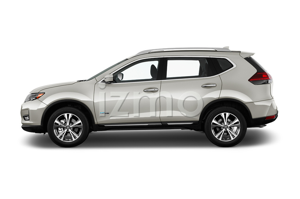 Car Driver side profile view of a 2017 Nissan Rogue SL-Hybrid 5 Door SUV Side View
