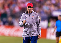 PHILADELPHIA, PA - AUGUST 29: Jill Ellis of the United States yells to her team during a game between Portugal and the USWNT at Lincoln Financial Field on August 29, 2019 in Philadelphia, PA.