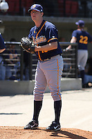 Jeremy Hall #15 of the Montgomery Biscuits warming up in the bullpen before a game against the Carolina Mudcats on April 18, 2010 in Zebulon, NC.