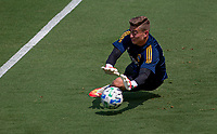 LOS ANGELES, CA - AUGUST 22: Jonathan Klinsmann #33  of the Los Angeles Galaxy warming up before a game between Los Angeles Galaxy and Los Angeles FC at Banc of California Stadium on August 22, 2020 in Los Angeles, California.
