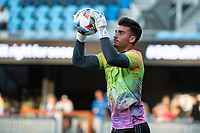 SAN JOSE, CA - AUGUST 17: JT Marcinkowski #1 of the San Jose Earthquakes warming up before a game between San Jose Earthquakes and Minnesota United FC at PayPal Park on August 17, 2021 in San Jose, California.